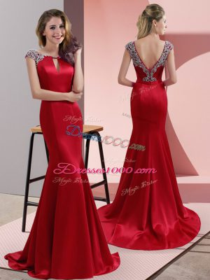 Scoop Cap Sleeves Sweep Train Backless Dress for Prom Red Elastic Woven Satin