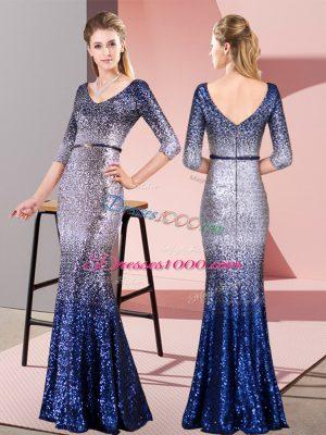 Multi-color Sequined Zipper V-neck 3 4 Length Sleeve Floor Length Evening Dress Belt