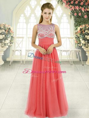Simple Tulle Scoop Sleeveless Side Zipper Beading Party Dresses in Watermelon Red