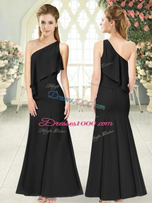 Black Sleeveless Ruching Ankle Length Juniors Evening Dress