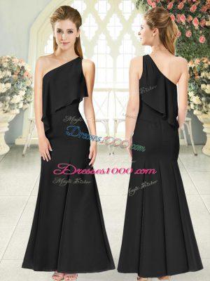 Black Sleeveless Ruching Ankle Length Juniors Evening Dress