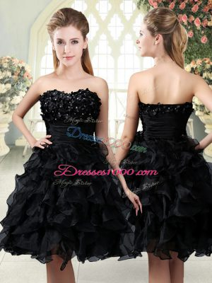 Cheap Sleeveless Organza Mini Length Side Zipper Evening Dress in Black with Beading and Appliques and Ruffles