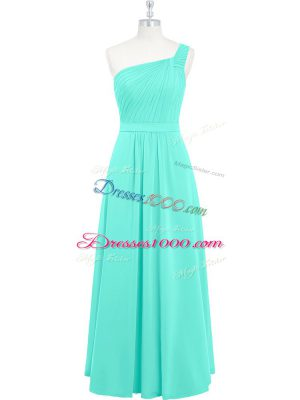 Trendy One Shoulder Sleeveless Chiffon Prom Dress Ruching Zipper