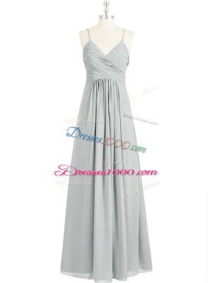 Shining Spaghetti Straps Sleeveless Prom Party Dress Floor Length Ruching Grey Chiffon