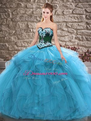 Blue Tulle Lace Up Sweetheart Sleeveless Floor Length Sweet 16 Quinceanera Dress Beading and Embroidery