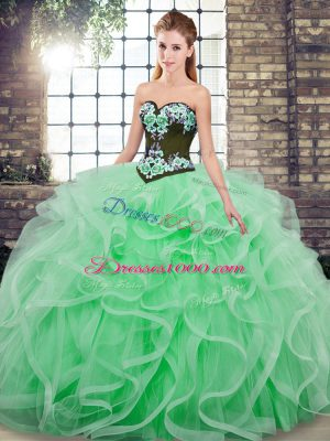 Top Selling Sleeveless Sweep Train Lace Up Embroidery and Ruffles Vestidos de Quinceanera