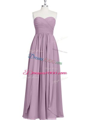 Edgy Purple Chiffon Zipper Sweetheart Sleeveless Floor Length Prom Dress Ruching