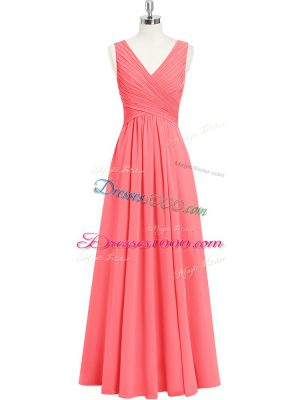 Watermelon Red V-neck Zipper Ruching Sleeveless