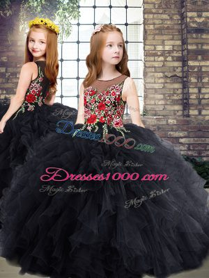 Top Selling Floor Length Zipper Little Girls Pageant Dress Black for Party and Wedding Party with Embroidery and Ruffles