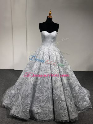 Silver Lace Up Sweetheart Sequins Quinceanera Gowns Sleeveless