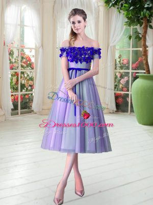 Custom Designed Sleeveless Tea Length Appliques Lace Up Prom Evening Gown with Lavender