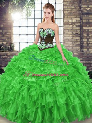 Gorgeous Organza Lace Up Quinceanera Gowns Sleeveless Sweep Train Embroidery and Ruffles