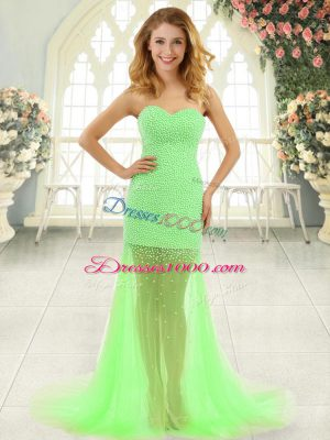 Pretty Prom Dresses Prom and Party with Beading Sweetheart Sleeveless Brush Train Zipper
