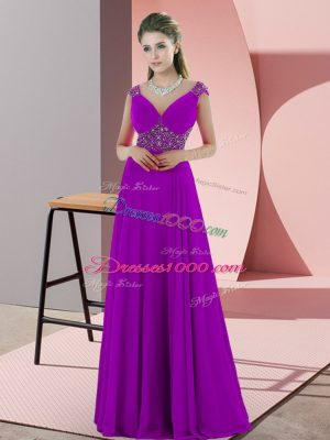 Inexpensive Sleeveless Satin Sweep Train Backless in Purple with Beading