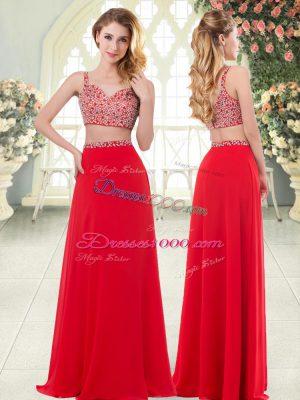 Floor Length Red Dress for Prom Straps Sleeveless Zipper