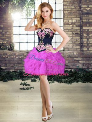Fashion Purple Sweetheart Neckline Embroidery and Ruffles Evening Outfits Sleeveless Lace Up