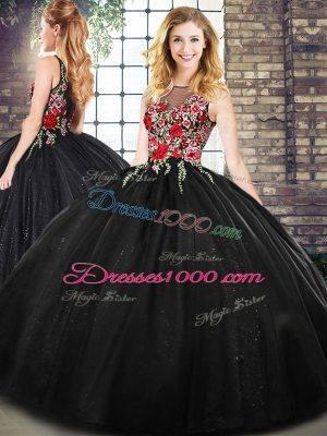 On Sale Black Sleeveless Floor Length Embroidery Zipper Quinceanera Gowns