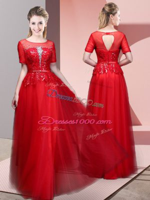 Beading and Lace Evening Party Dresses Red Backless Short Sleeves Floor Length