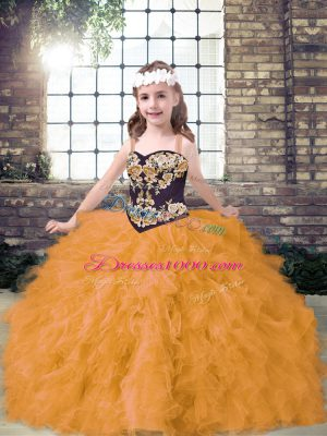 Sweet Floor Length Lace Up Pageant Dress Gold for Party and Wedding Party with Embroidery and Ruffles