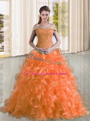 Popular Off The Shoulder Sleeveless Organza Quince Ball Gowns Beading and Lace and Ruffles Sweep Train Lace Up