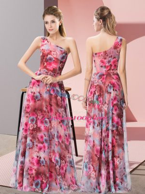 Ideal Floor Length Empire Sleeveless Multi-color Evening Dress Zipper