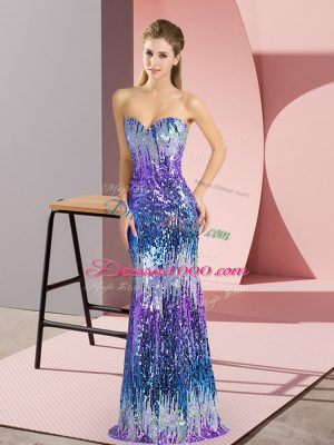 Sweetheart Sleeveless Lace Up Sequins Prom Evening Gown in Multi-color