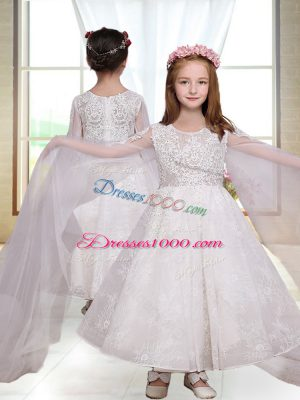 White A-line Scoop Long Sleeves Ankle Length Zipper Lace Flower Girl Dresses for Less
