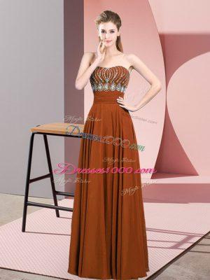 Brown Empire Chiffon Strapless Sleeveless Beading Floor Length Zipper Prom Dress