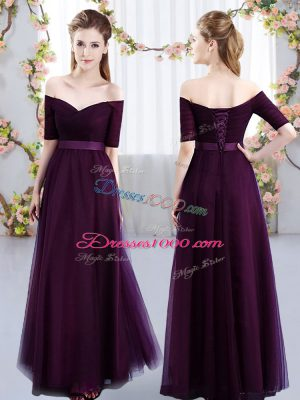 New Style Off The Shoulder Short Sleeves Bridesmaid Dress Floor Length Ruching Dark Purple Tulle