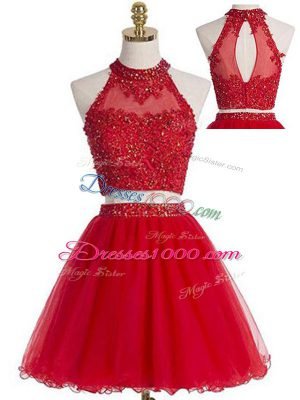 Mini Length Two Pieces Sleeveless Red Prom Gown Zipper