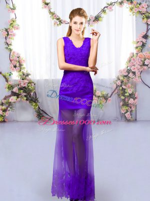 High End Purple Dama Dress for Quinceanera Prom and Party with Lace V-neck Sleeveless Lace Up