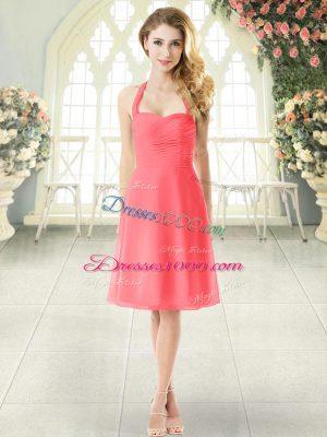 Cute Watermelon Red Empire Halter Top Sleeveless Chiffon Knee Length Zipper Ruching Homecoming Dress