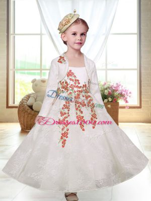 Straps Sleeveless Toddler Flower Girl Dress Ankle Length Embroidery White Lace
