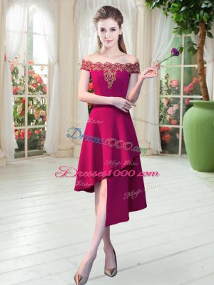 Captivating Wine Red Prom Dress Prom and Party with Appliques Off The Shoulder Sleeveless Zipper