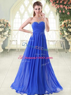 Sleeveless Chiffon Floor Length Zipper Prom Dresses in Royal Blue with Beading