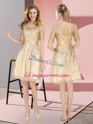 Low Price Gold Sequined Zipper Scoop Half Sleeves Knee Length Party Dress for Toddlers Ruching