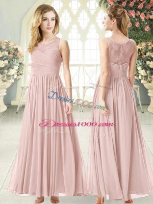 Charming Scoop Sleeveless Chiffon Dress for Prom Lace Zipper