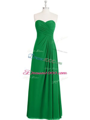 Lovely Green A-line Ruching Prom Gown Zipper Chiffon Sleeveless Floor Length