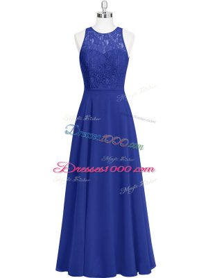 Hot Selling Royal Blue Zipper Womens Party Dresses Lace Sleeveless Floor Length