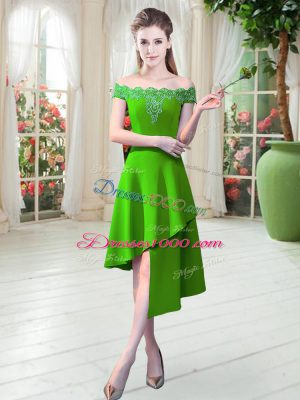 Fashionable Off The Shoulder Sleeveless Homecoming Dress Asymmetrical Appliques Satin