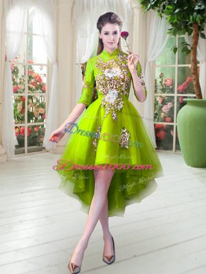 Graceful Yellow Green Half Sleeves Tulle Zipper Juniors Party Dress for Prom and Party