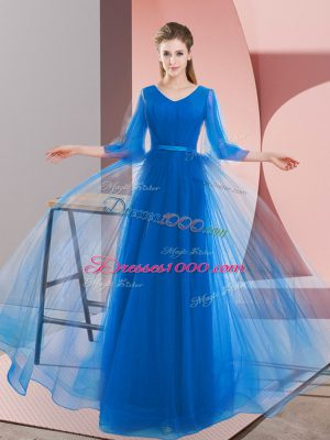 Long Sleeves Lace Up Floor Length Beading Party Dress for Girls