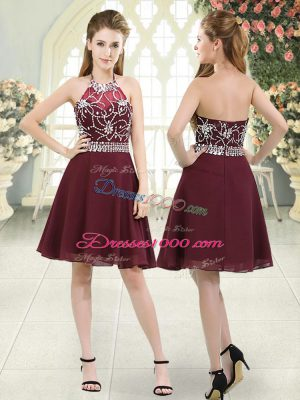 Inexpensive Burgundy Sleeveless Knee Length Beading Zipper Dress for Prom
