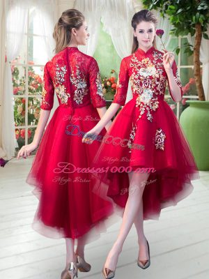 Red A-line High-neck Half Sleeves Tulle High Low Zipper Appliques Evening Dress