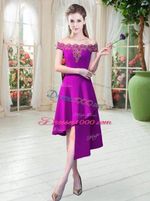 Sleeveless Zipper Asymmetrical Appliques Prom Evening Gown