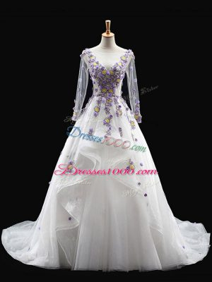 Appliques Ball Gown Prom Dress White Backless Long Sleeves Brush Train
