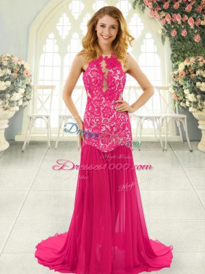 Inexpensive Hot Pink Chiffon Backless Prom Gown Sleeveless Brush Train Lace