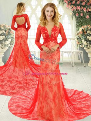 Red Long Sleeves Tulle Court Train Backless Party Dress Wholesale for Prom and Party and Military Ball