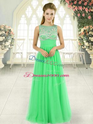 Elegant Sleeveless Beading Floor Length Teens Party Dress