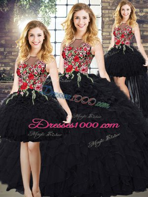 Graceful Black Zipper Quinceanera Dresses Embroidery and Ruffles Sleeveless